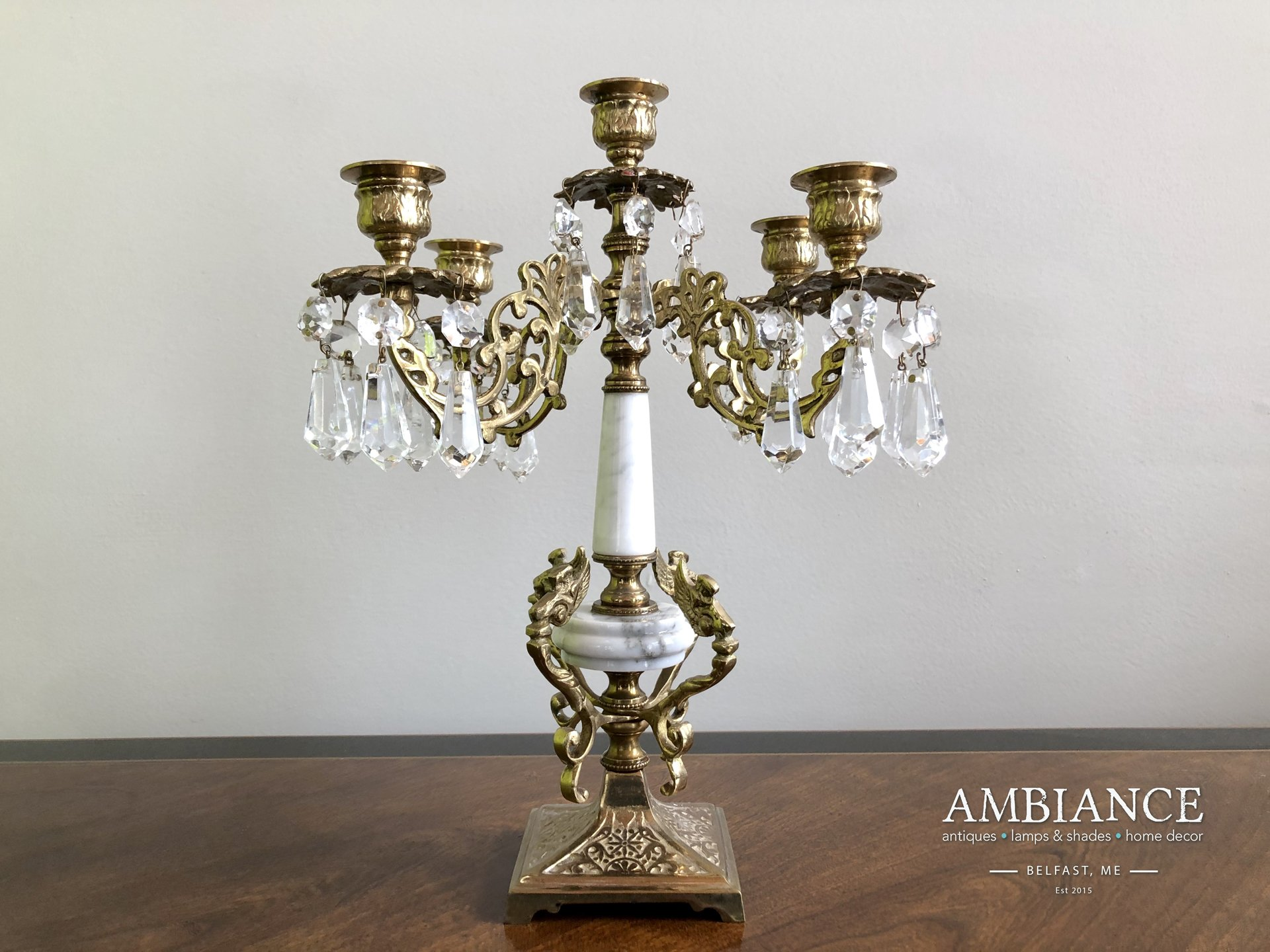 Candelabra in Bronze with Crystals and Marble at AMBIANCE (00)