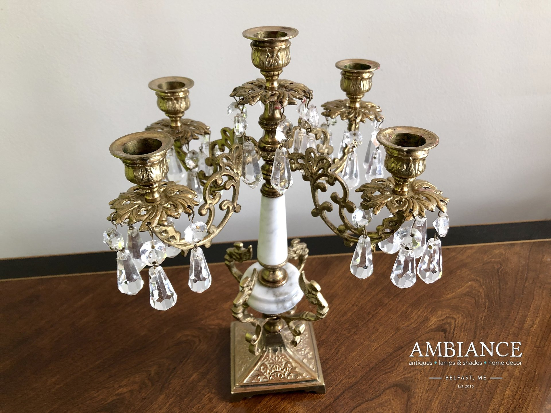 Candelabra in Bronze with Crystals and Marble at AMBIANCE (01)