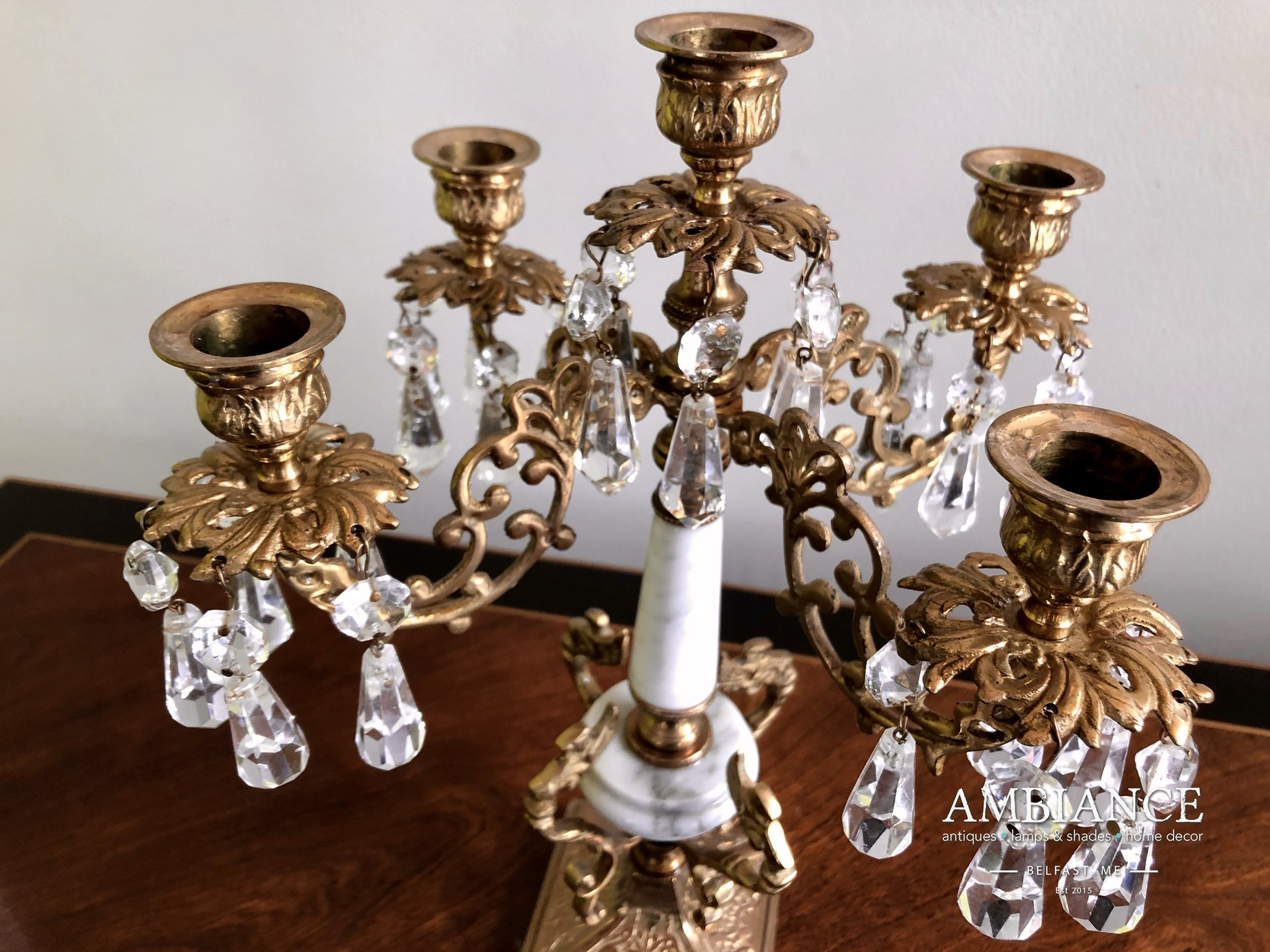 Candelabra in Bronze with Crystals and Marble at AMBIANCE (03)