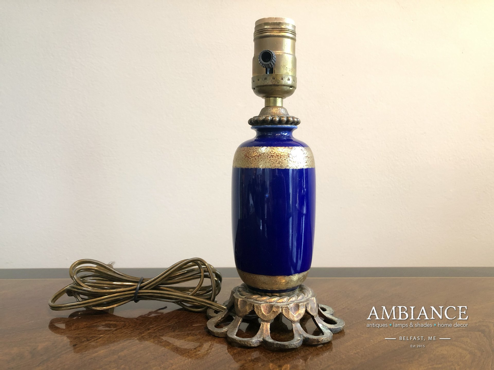 Cobalt Blue Porcelain Vintage Lamp at AMBIANCE in Belfast, Maine