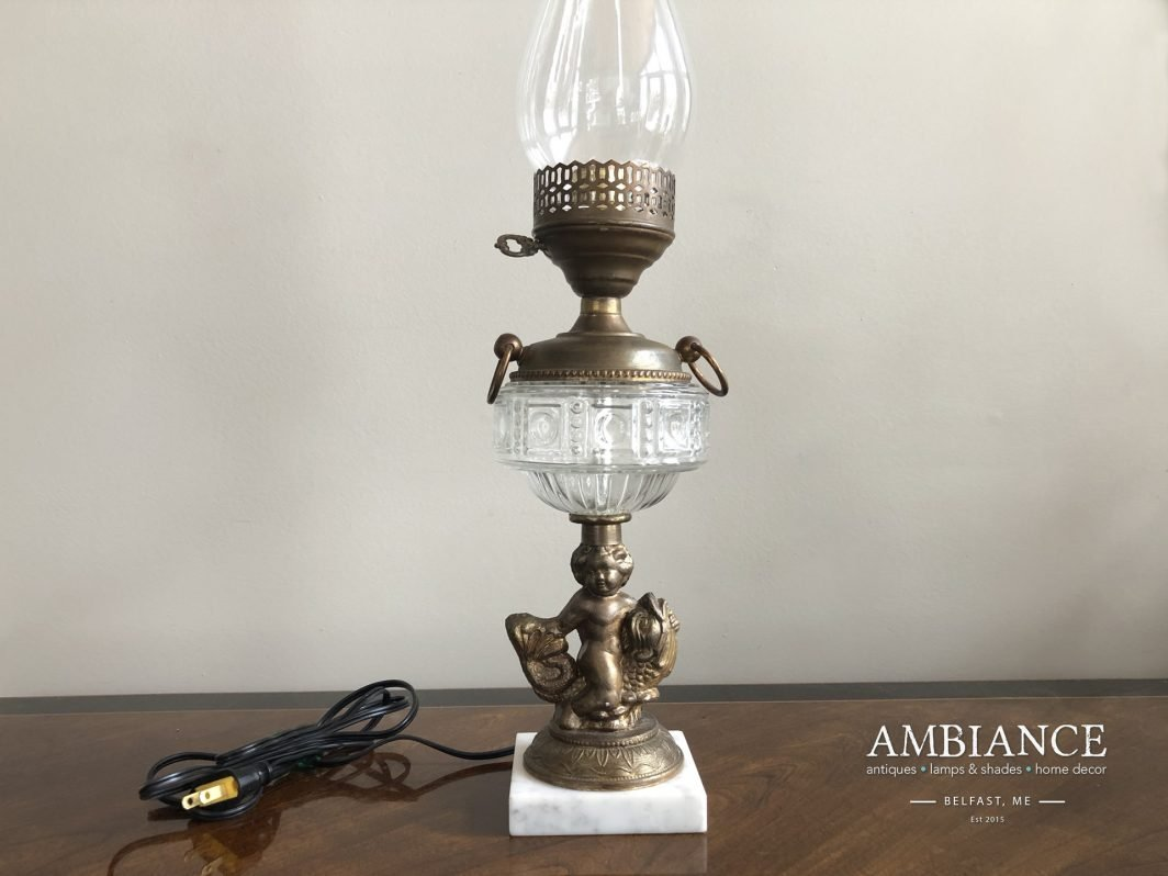 Electrified Figural Glass-Oil-Lamp-with-Cherub & Marble Base (AMBIANCE)