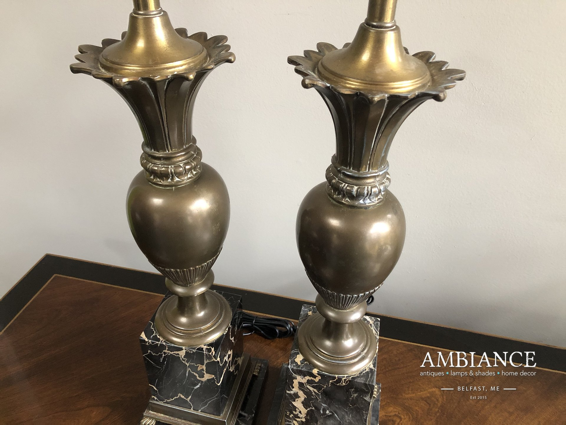 Hollywood regency style brass and marble vintage lamp AMBIANCE (01)