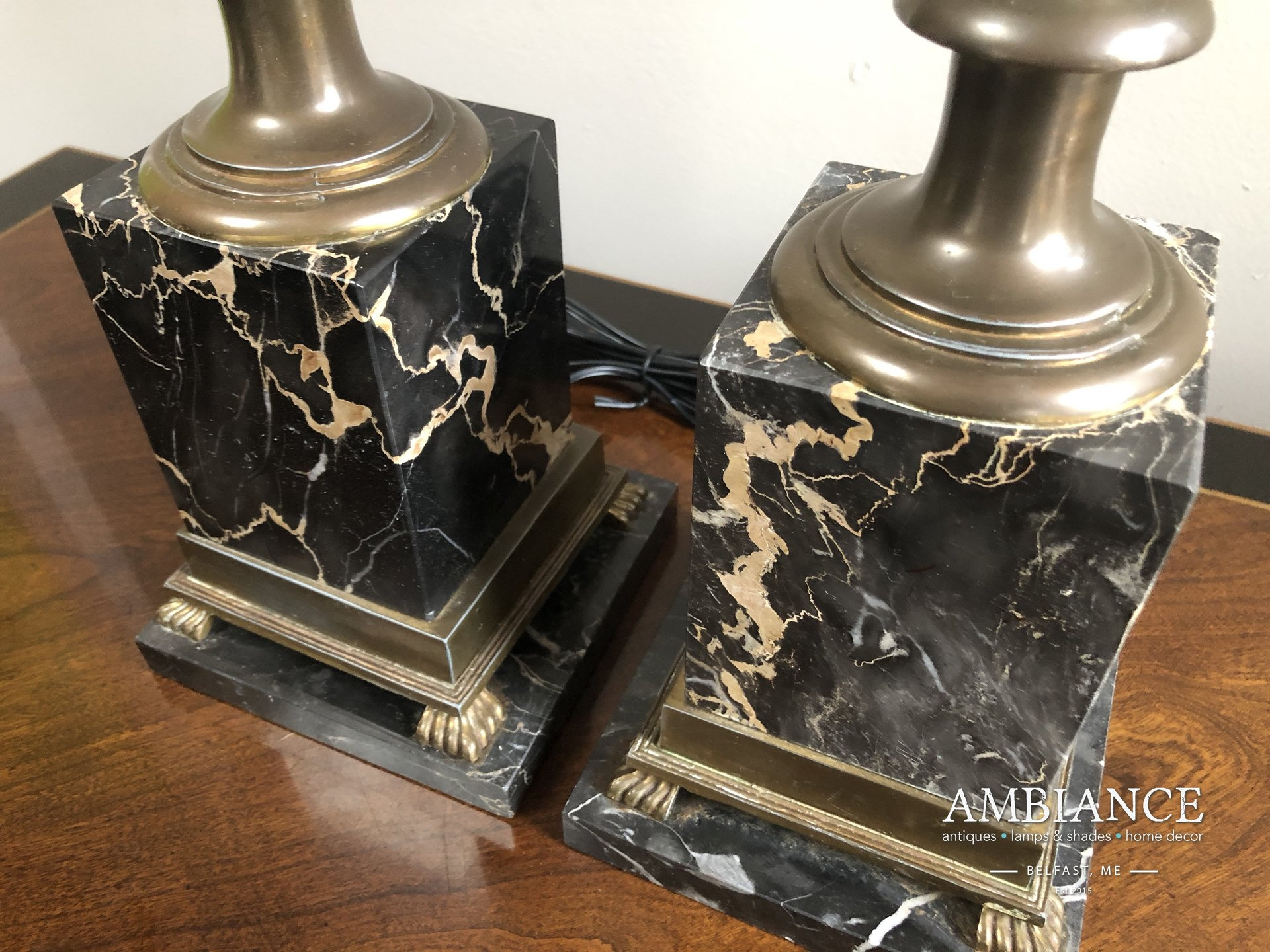 Hollywood regency style brass and marble vintage lamp AMBIANCE (02)