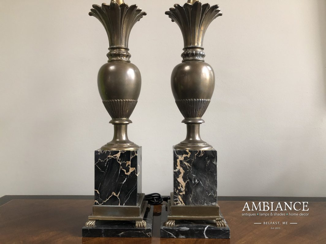Hollywood regency style brass and marble vintage lamp AMBIANCE (00)