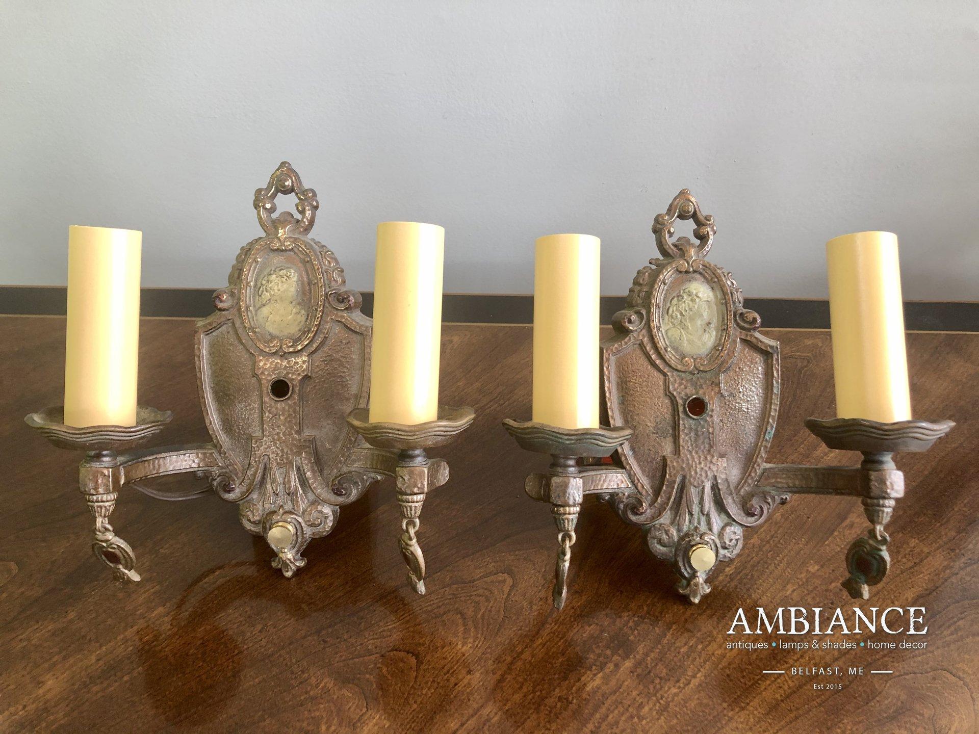 Pair of Antique Art Deco-Bronze-Gilt-Cameo Wall Sconces (00)