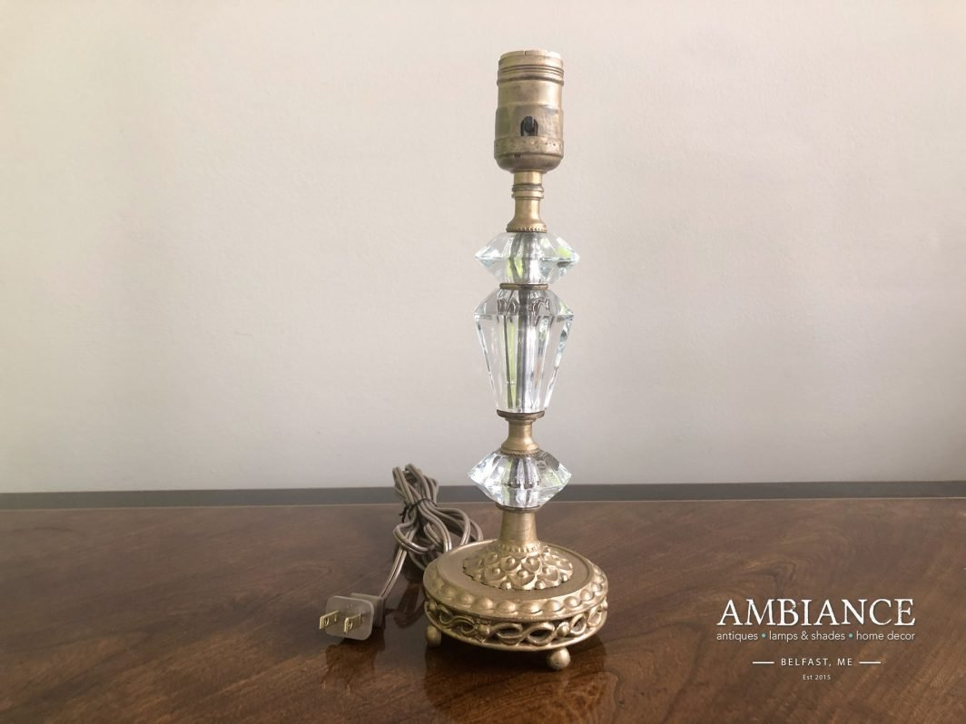 Vintage Crystal Lamp with Ornate Gilded Base at AMBIANCE (00)