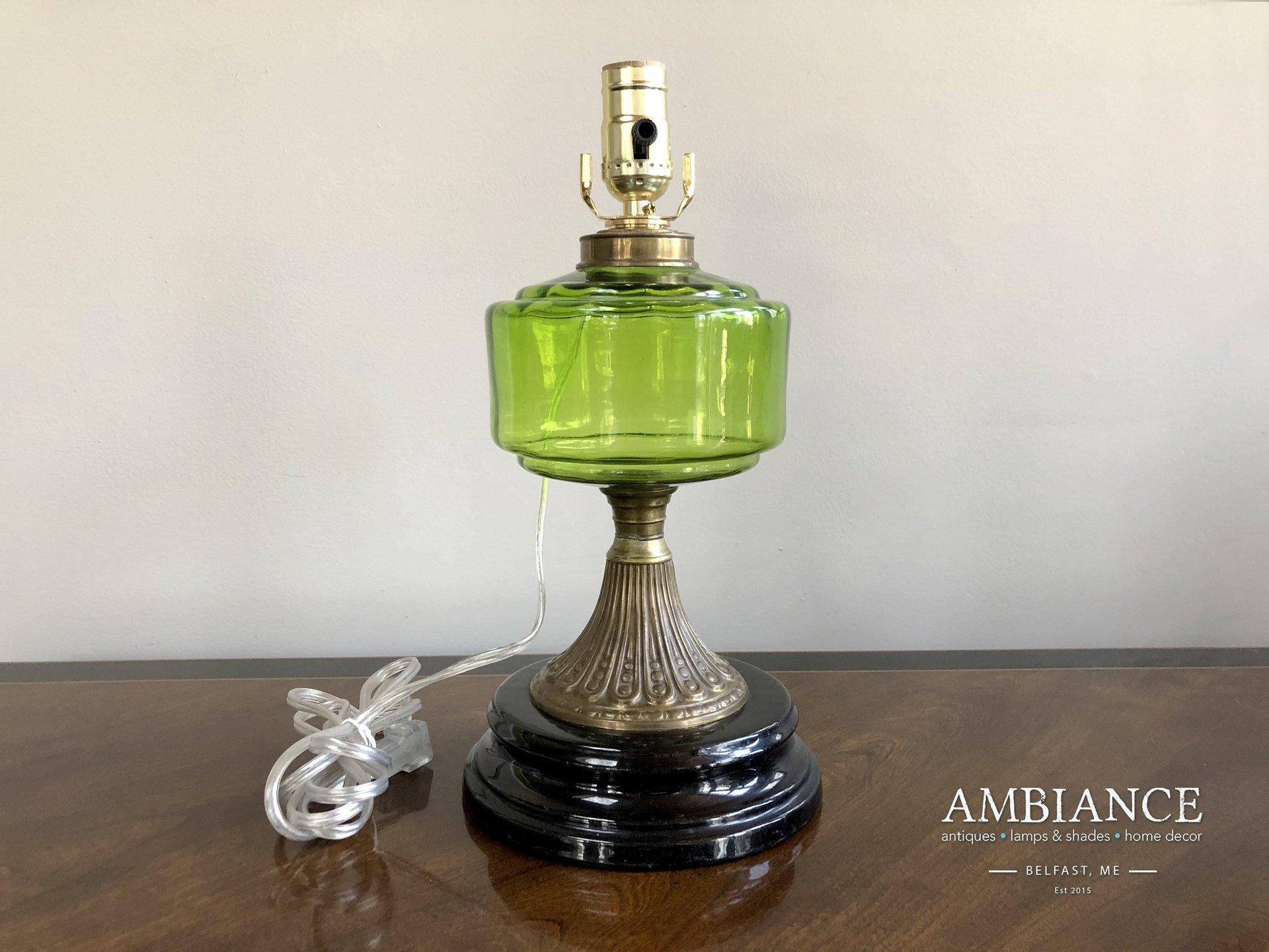 Vintage-Green-Glass-Kerosene-Electrified-Lamp-01