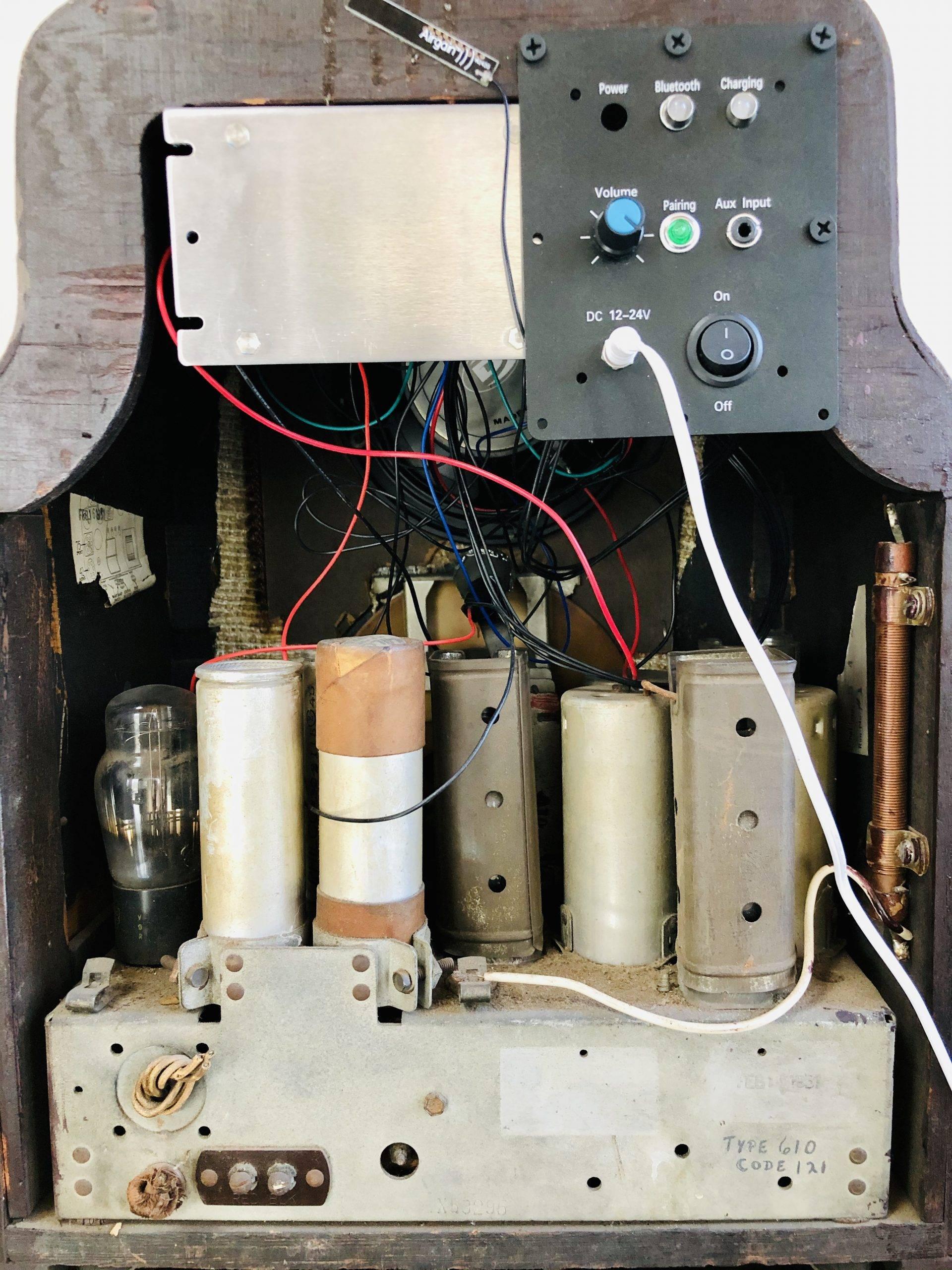 Back of Bluetooth-Enabled 1935 Philco Radio-Model 620B