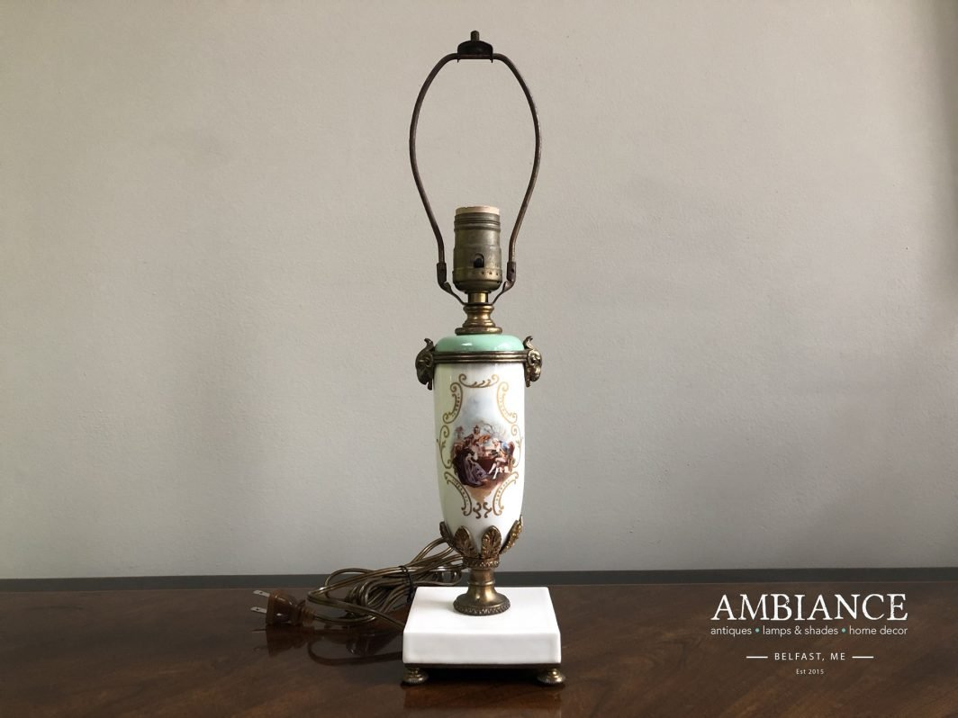 Mid century Louis XVI, antiquity style, Porcelain lamp at AMBIANCE (Belfast, Maine)